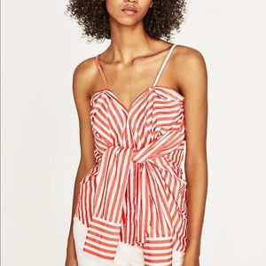 Red striped cotton multi positions Shirt, NWT